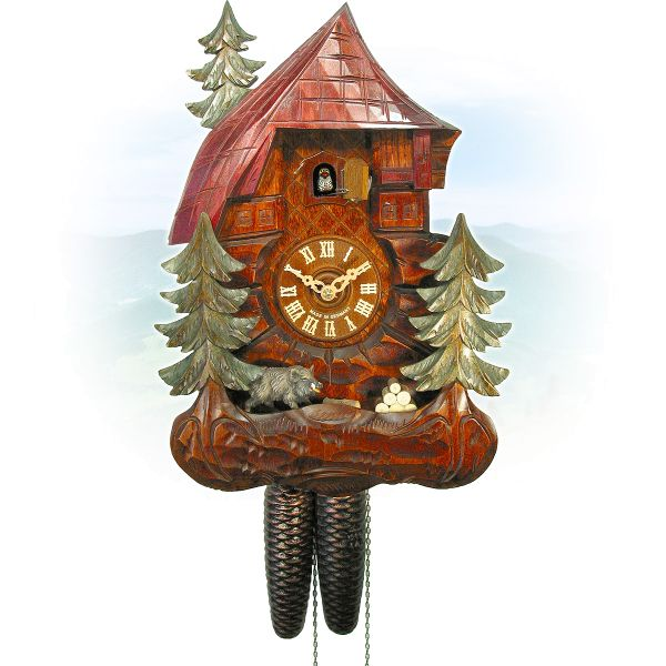 Cuckoo Clock Winterthur, August Schwer: house, wild boar