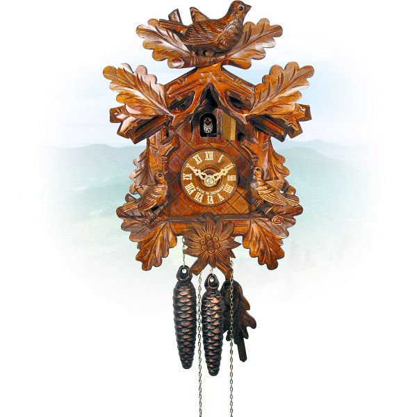 Cuckoo Clock Frankfurt am Main , August Schwer: 3 bird Oak leaves